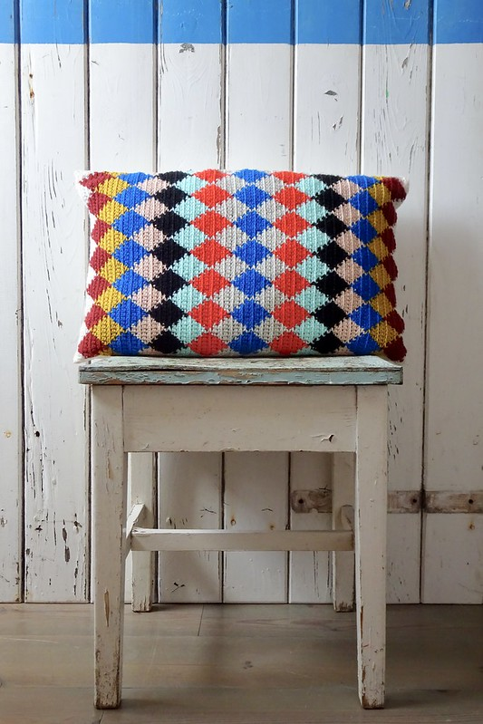 handmade harlequin pillow