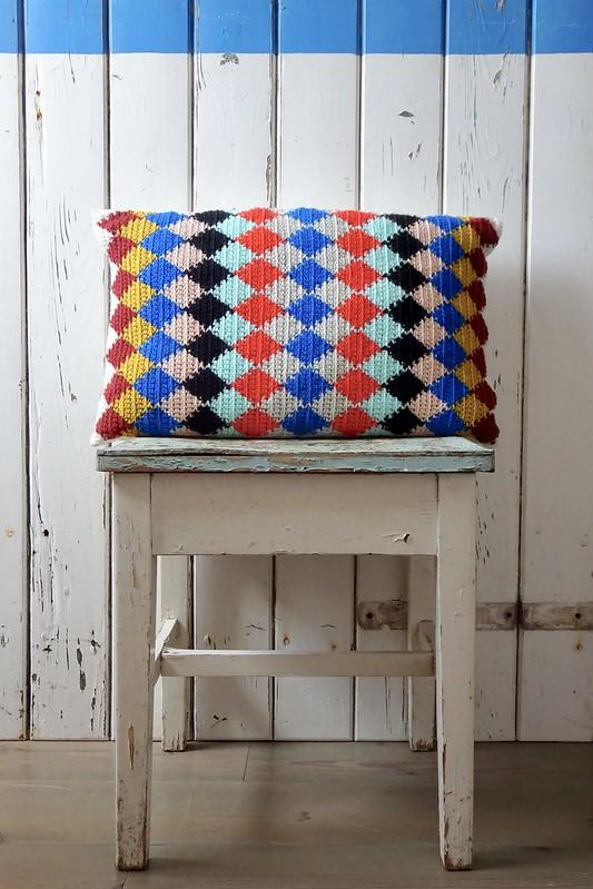 handmade harlequin pillow