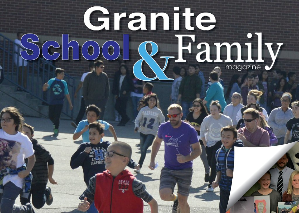 Valley Jr High students running a race with text 'Granite School & Family Magazine'