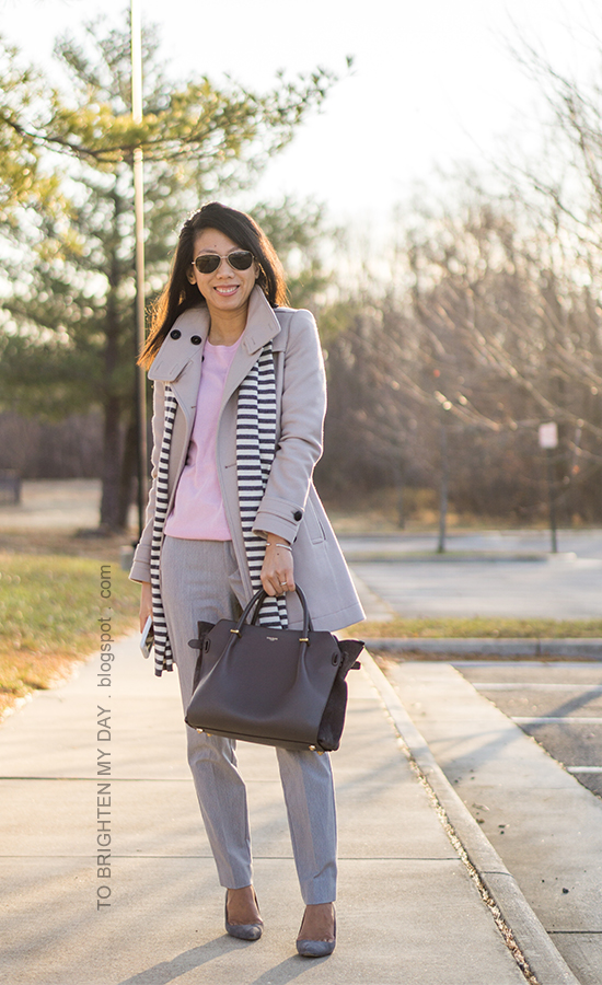striped scarf, gray wool trench coat, pink cashmere sweater, cable bracelet, infinity rings, gray pants, gray tote, gray suede pumps