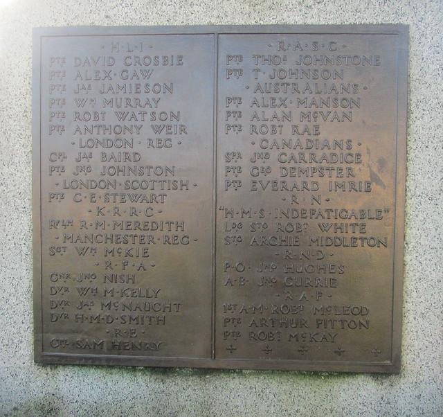 WW1 Nmaes, Castle Douglas War Memorial