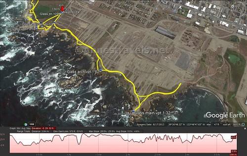 Visual Trail Map of the Coastal Trail south of Glass Beach, California