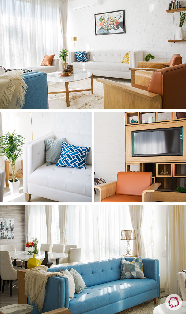 stylish TV unit in living room