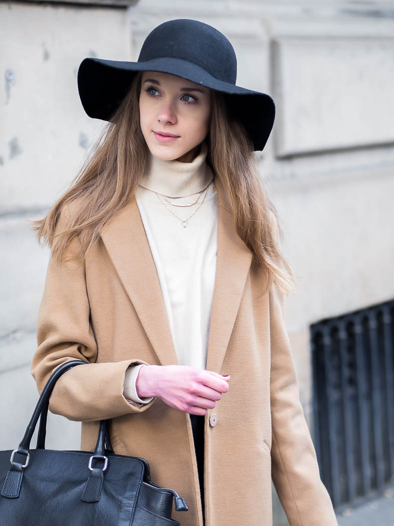 Autumn outfit inspiration with camel coat and fedora hat