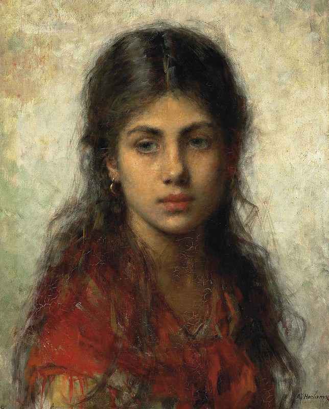 Alexei Harlamoff - Girl with a red shawl