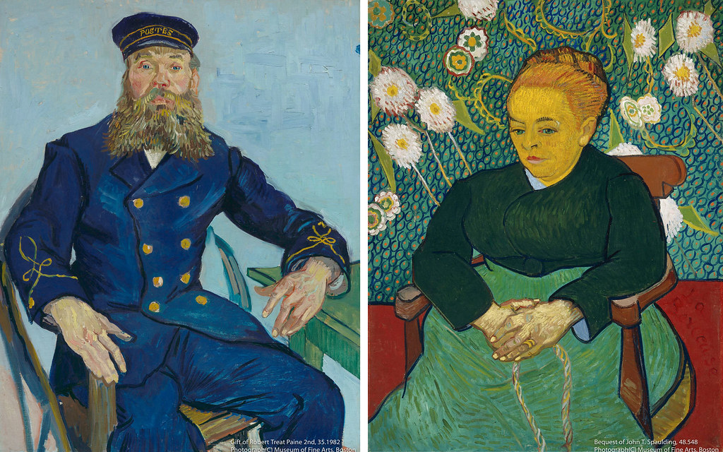 左)フィンセント・ファン・ゴッホ《郵便配達人 ジョゼフ・ルーラン》(1888年)ボストン美術館所蔵 右)フィンセント・ファン・ゴッホ《子守唄、ゆりかごを揺らすオーギュスティーヌ・ルーラン夫人》(1889年)ボストン美術館所蔵