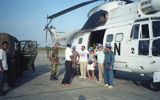 A UN data collection team boarding the first UN helicopter to Preah Vihear.