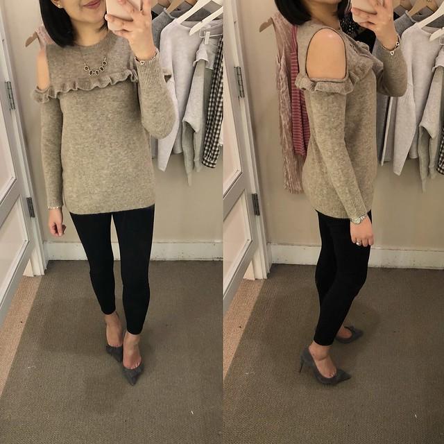 LOFT Ruffle Cold Shoulder Sweater, size XSP