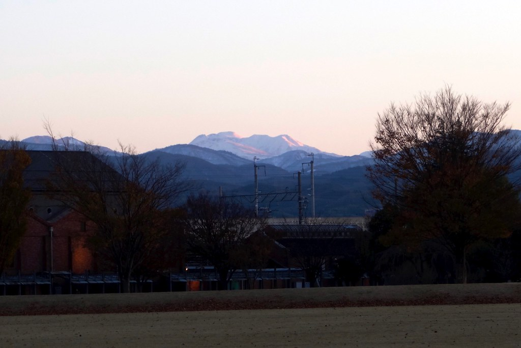 Sacred mountain Hakusan from Kanazawa citizen art village