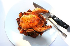 ROAST CORNISH HEN WITH CARAMELIZED ONIONS AND POTATOES (BEST POTATOES EVER?)