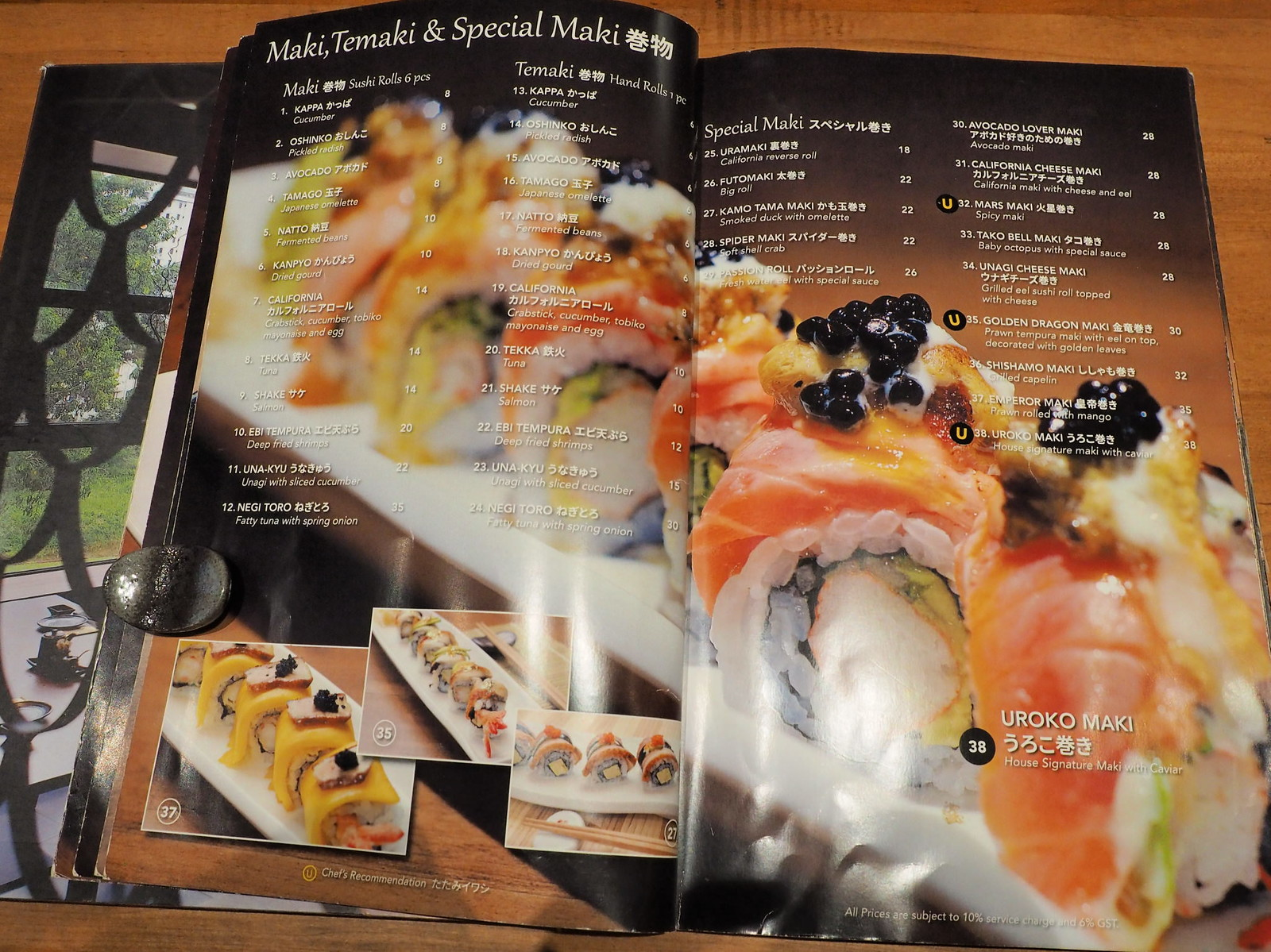 Maki, Temaki and Special Maki menu