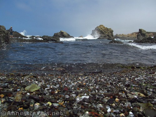 Waves crash against the sea stacks at the north end of Glass Beach, California