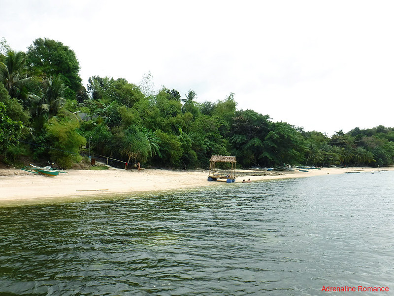 White-sand beach beside the resort