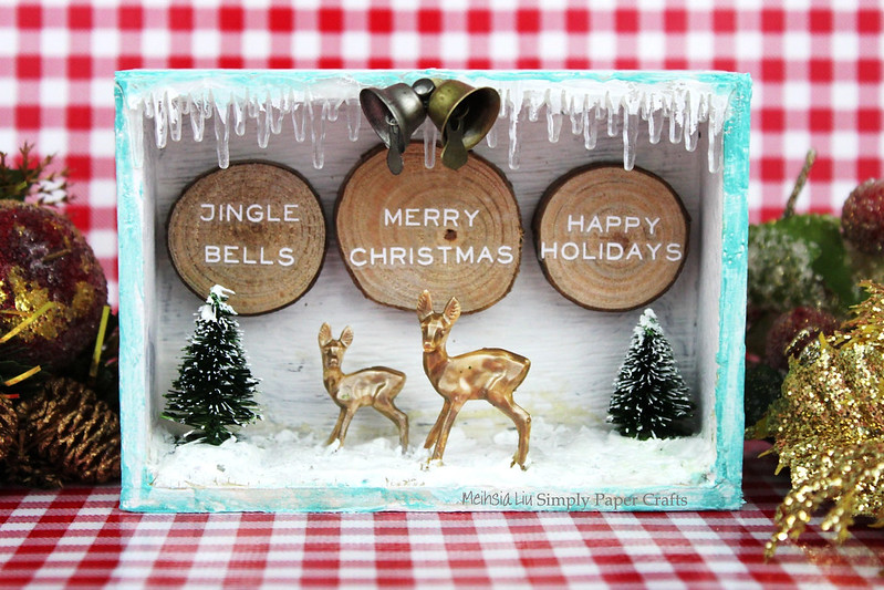 Meihsia Liu Simply Paper Crafts Mixed Media Christmas Box Tim Holtz Simon Says Stamp Monday Challenge 1