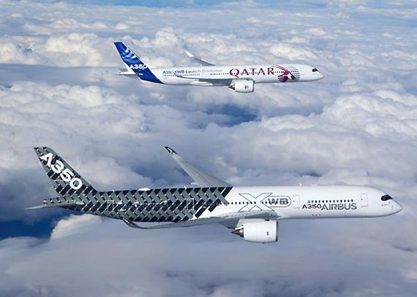 Airbus A350 flying together Qatar Airways (Airbus)