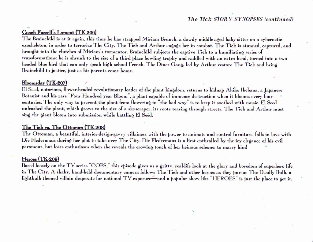 THE TICK SYNOPSES PAGE 2 | THE TICK STORY SYNOPSES 1993 PAGE… | Flickr