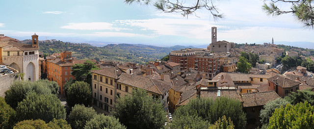 Perugia lifted by a hill above a valley