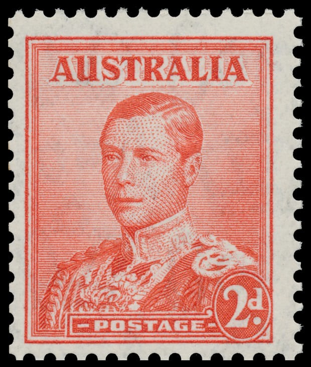 Unissued 2-pence red Edward VIII printed by Australia in October 1936. Only six copies exist today.