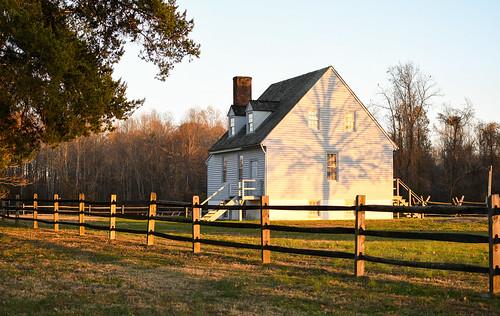 civil war battlefield house old historic history autumn light shadows sunset golden