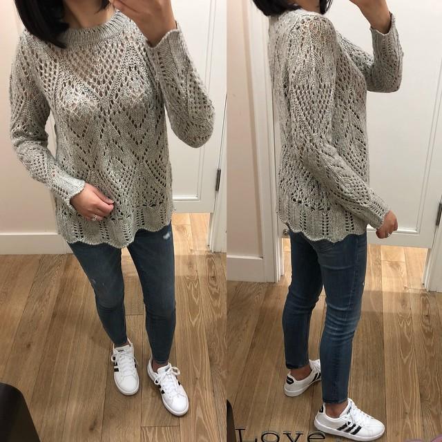 LOFT Scalloped Pointelle Sweater, size XS regular