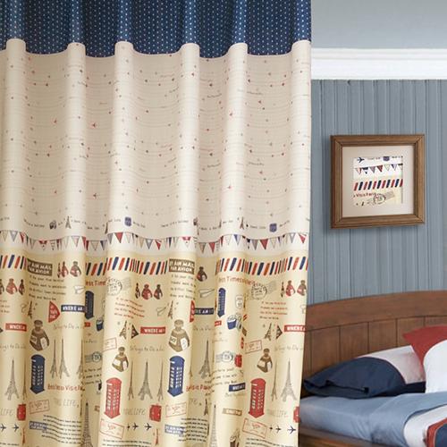 航向艾菲爾 法國 旅行 郵戳 三角旗 半遮光無接縫窗簾布 DA1890041