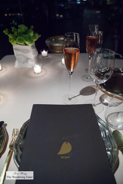 Menu and the Leclerc Briant Champagne Brut Rosé