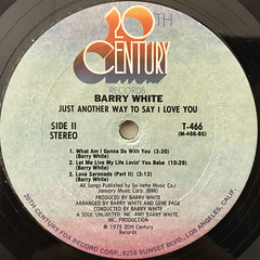 BARRY WHITE:JUST ANOTHER WAY TO SAY I LOVE YOU(LABEL SIDE-B)