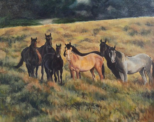 Private Party 9x12, oil #impressionistic #oil #landscape#animals#horses