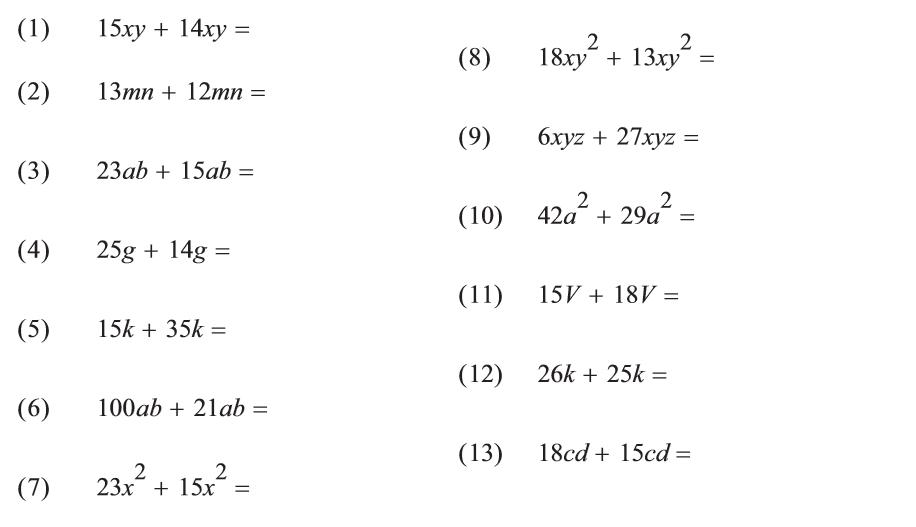 Algebra - Combining Similar Terms