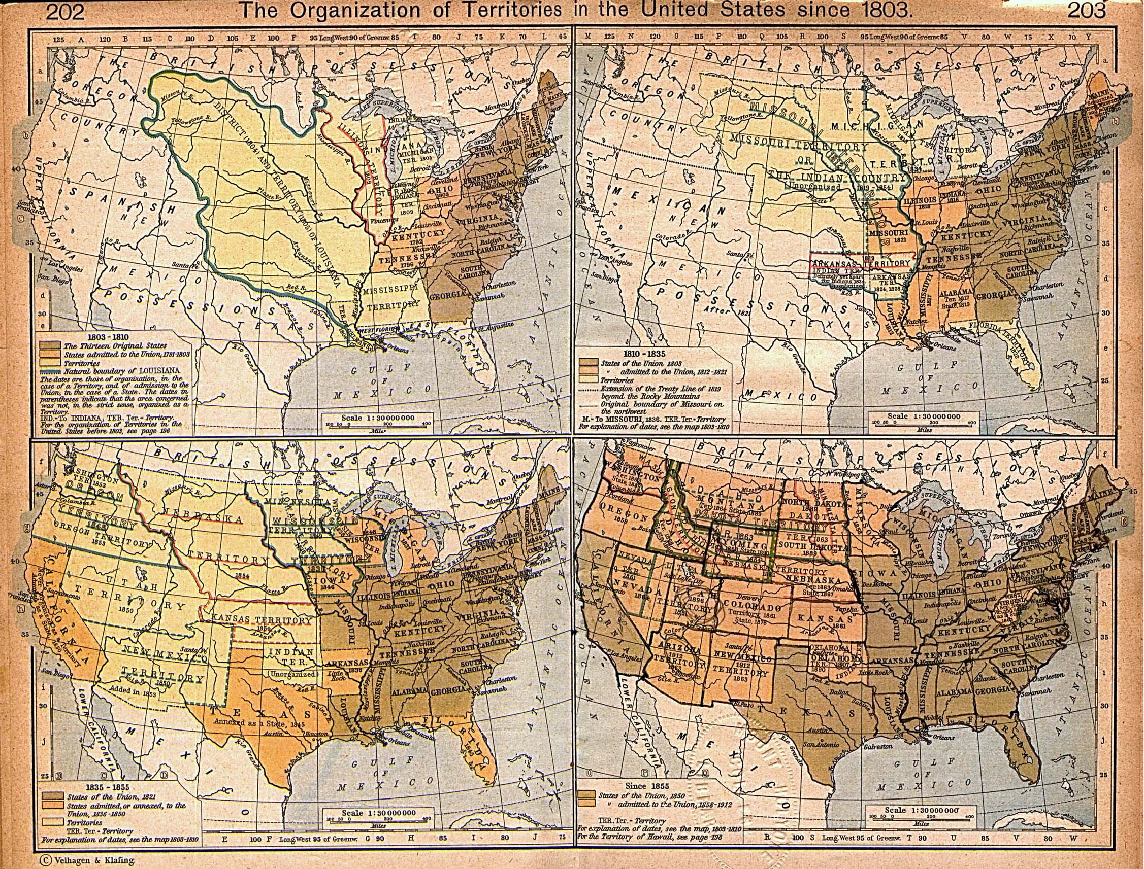 Territorial expansion of the continental United States of America, 1803-1912.