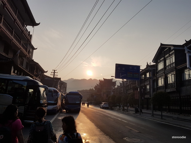 Fenghuang County street sunrise