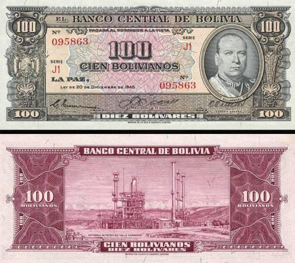 100 Pesos Bolivianos Bolívia 1945, P154
