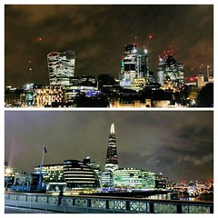 Skylines both sides of the Thames last night.