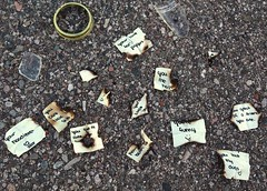 Seen while running: burnt love notes and broken jar