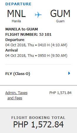 Manila to Guam Promo October 4, 2018