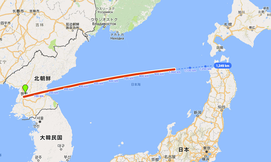 北朝鮮ミサイル予想軌道