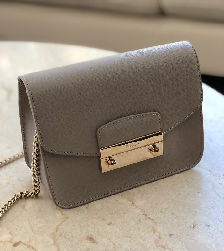 Furla Julia Mini Saffiano Leather Crossbody in Sabbia