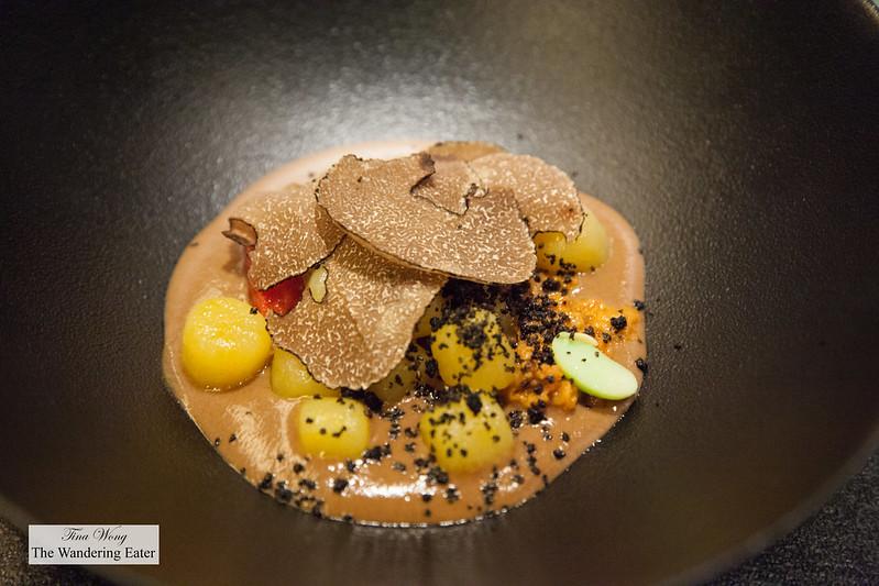 Gnocchi, black truffle, edameme and umi