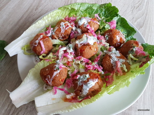 Quinoa Masala Meatballs on Lettuce Cups