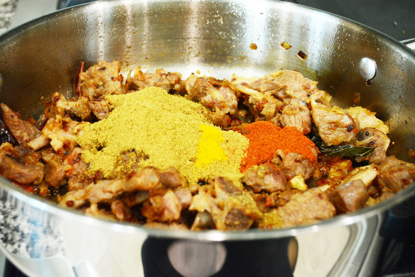 Cooking the masala for mutton curry recipe - Step8