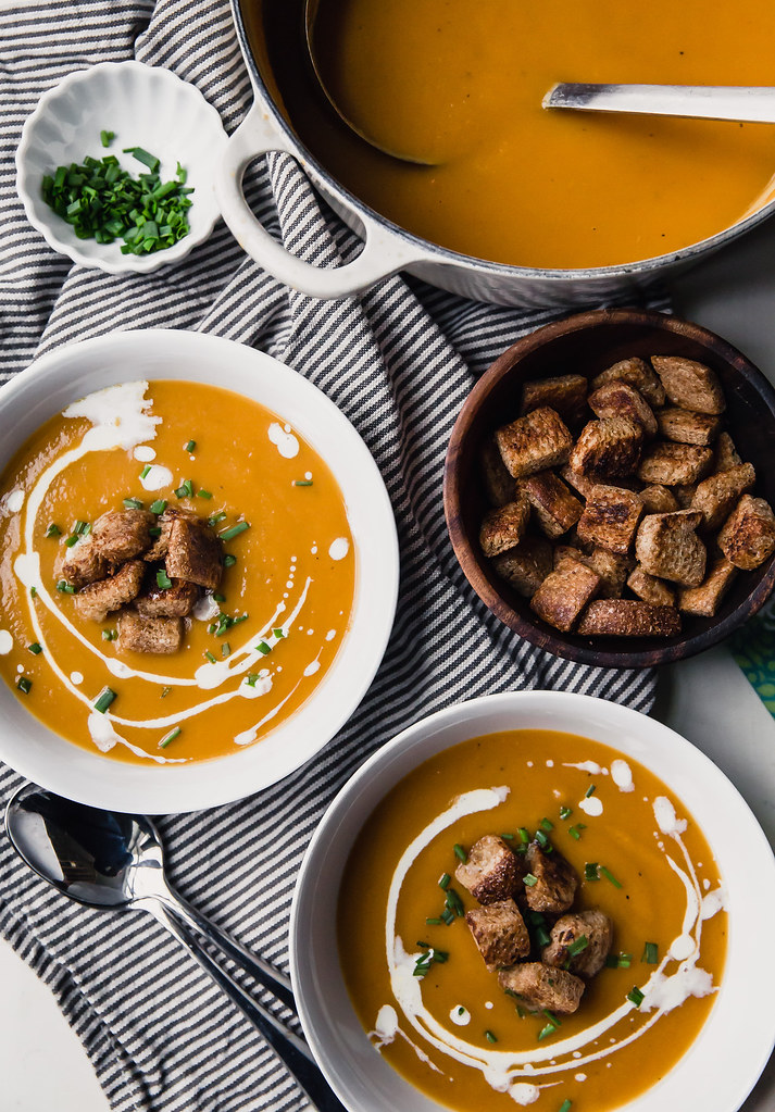 Sweet Potato and Roasted Apple Soup with Maple Croutons