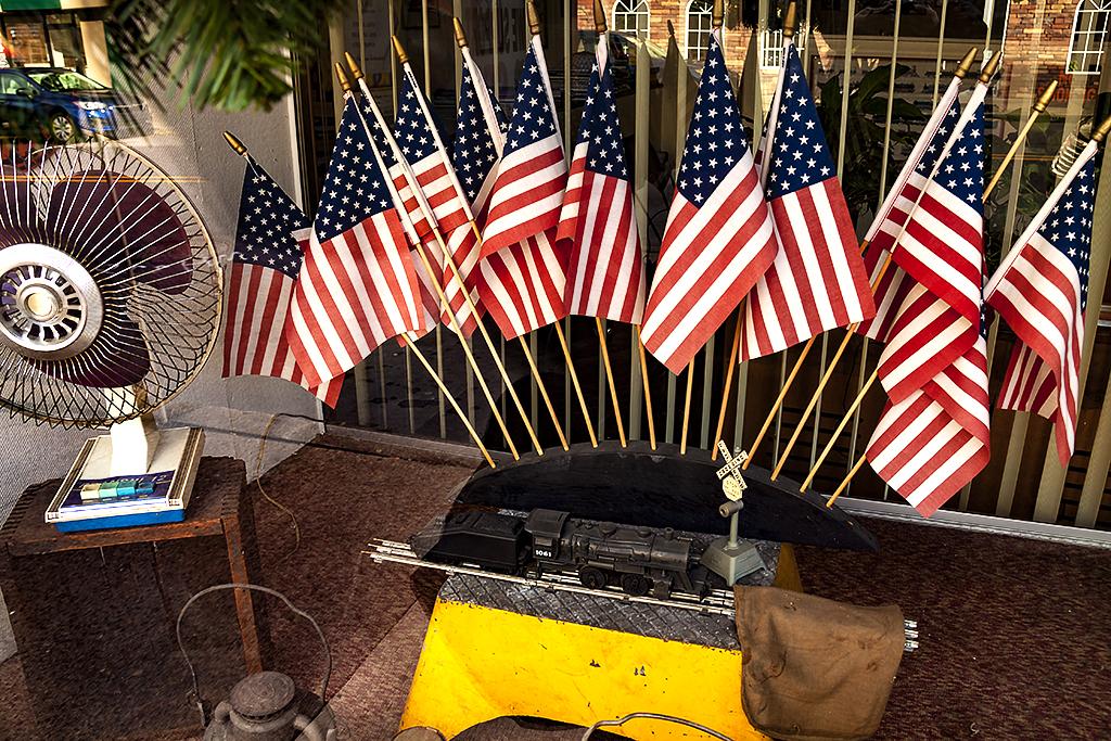Many flags in shop window--Scranton