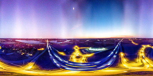 Sawyer Road Roundabouts at Dusk 360 Panorama.jpg