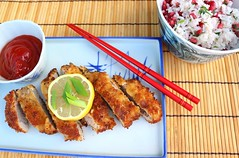TONKATSU WITH CILANTRO/POMEGRANATE RICE