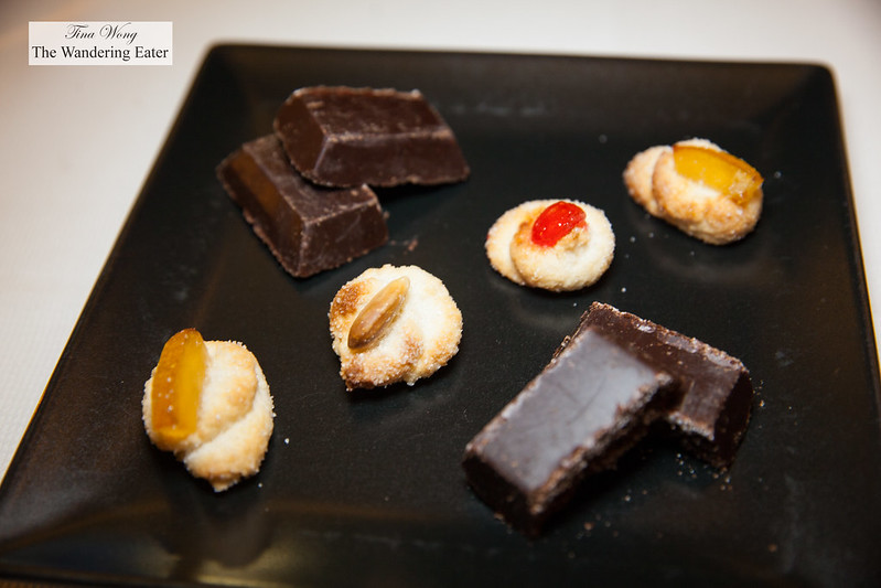 Petit fours of Modican chocolate and marzipan cookies