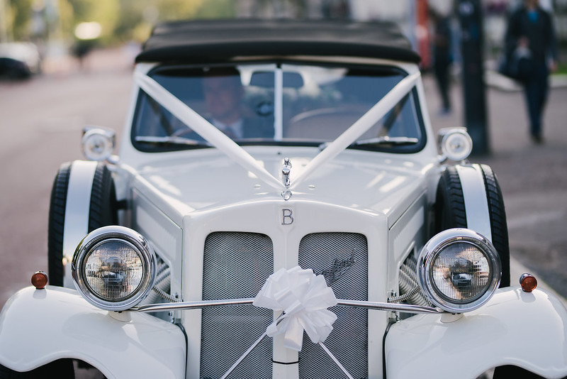 This is a picture of a traditional white wedding car