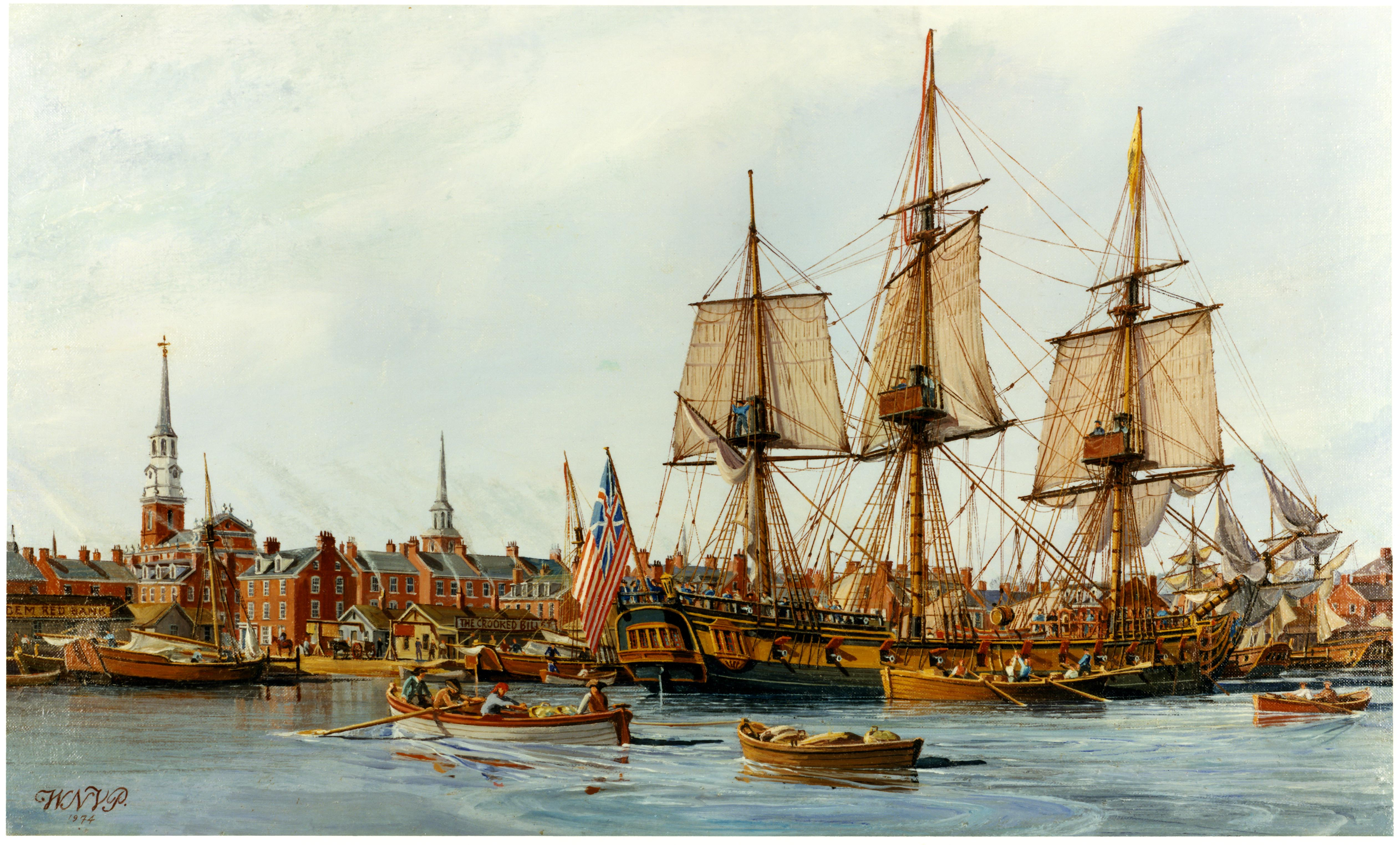 USS Alfred flying the Grand Union Flag