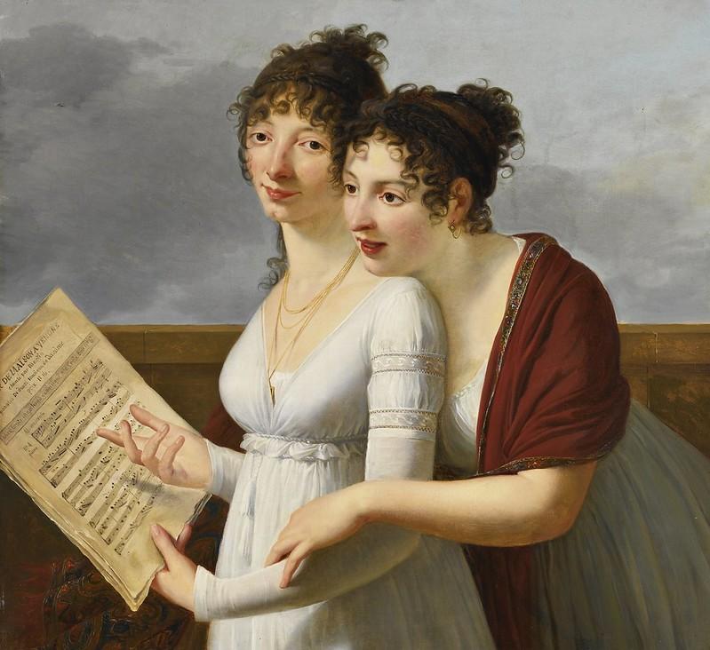 Robert Jacques François Lefèvre - Portrait of two Elegantly Dressed Ladies