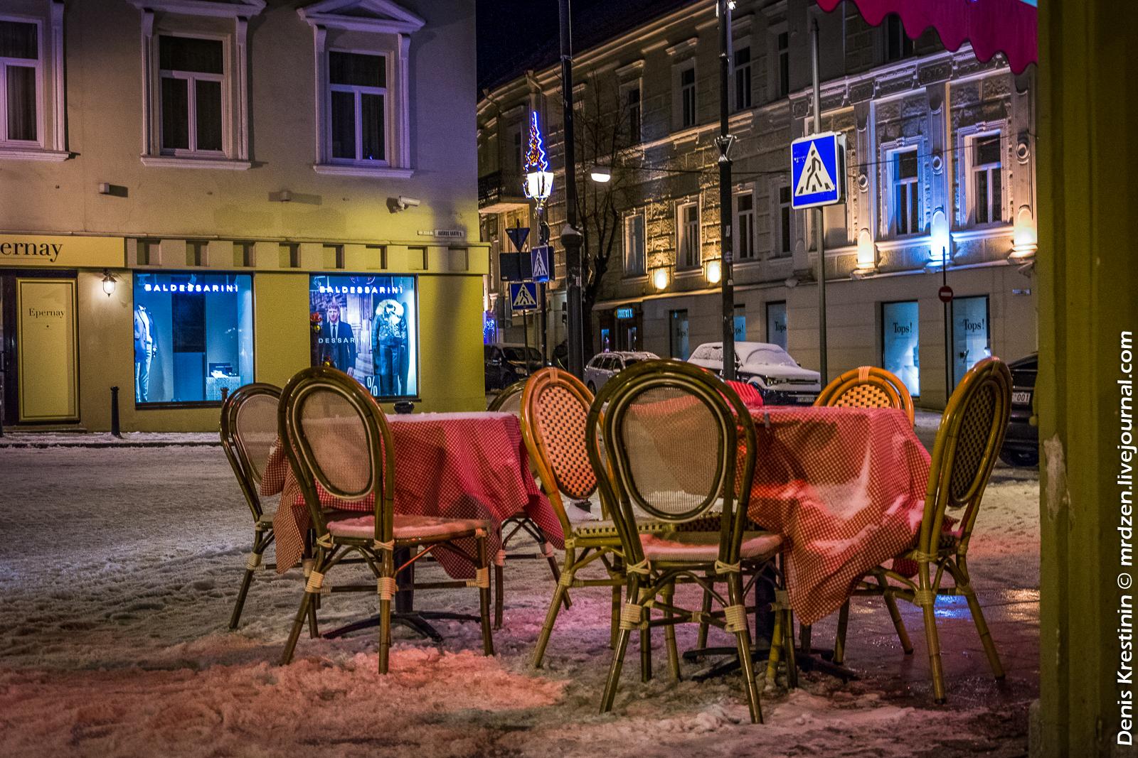 Вильнюс. Зимний свободные столик.