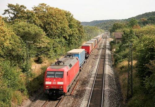152 016 mit KT 62916 (Verona Quadrante–Meimersdorf) am 03.09.2016 in Burgbernheim-Wildbad